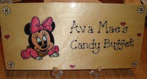 Baby Minnie Mouse Large Children's Personalised Wooden Sign 9.5 x 4 inches Suitable for Any